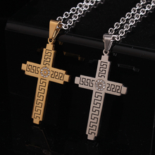 Great Wall pattern silver gold Cross rhinestone 316L Stainless Steel pendant necklaces jewelry wholesale(China)