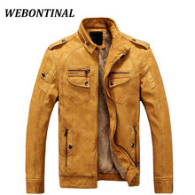 WEBONTINAL Brand PU Faux Casual Man Jackets Men Leather Jacket Male Coats Winter Warm Velvet Hombre Veste Motorcycle Outerwear(China)
