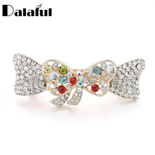 Dalaful Sweet Bow Hairpin Colorful Shinning Crystal Butterfly Twist Hair Clip Headdress Bridal For Women Girls F147(China)