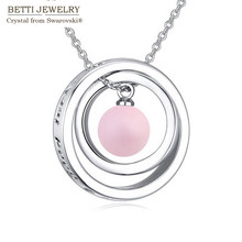 2016 new charming 4 colors round pendant Link Chain Rhodium Plated necklace With Crystals from SWAROVSKI for mother's Day gift