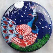Бесплатная доставка 1 шт. ручная роспись павлин синий агаты кулон для Цепочки и ожерелья 56x6 мм DHY168517(China)