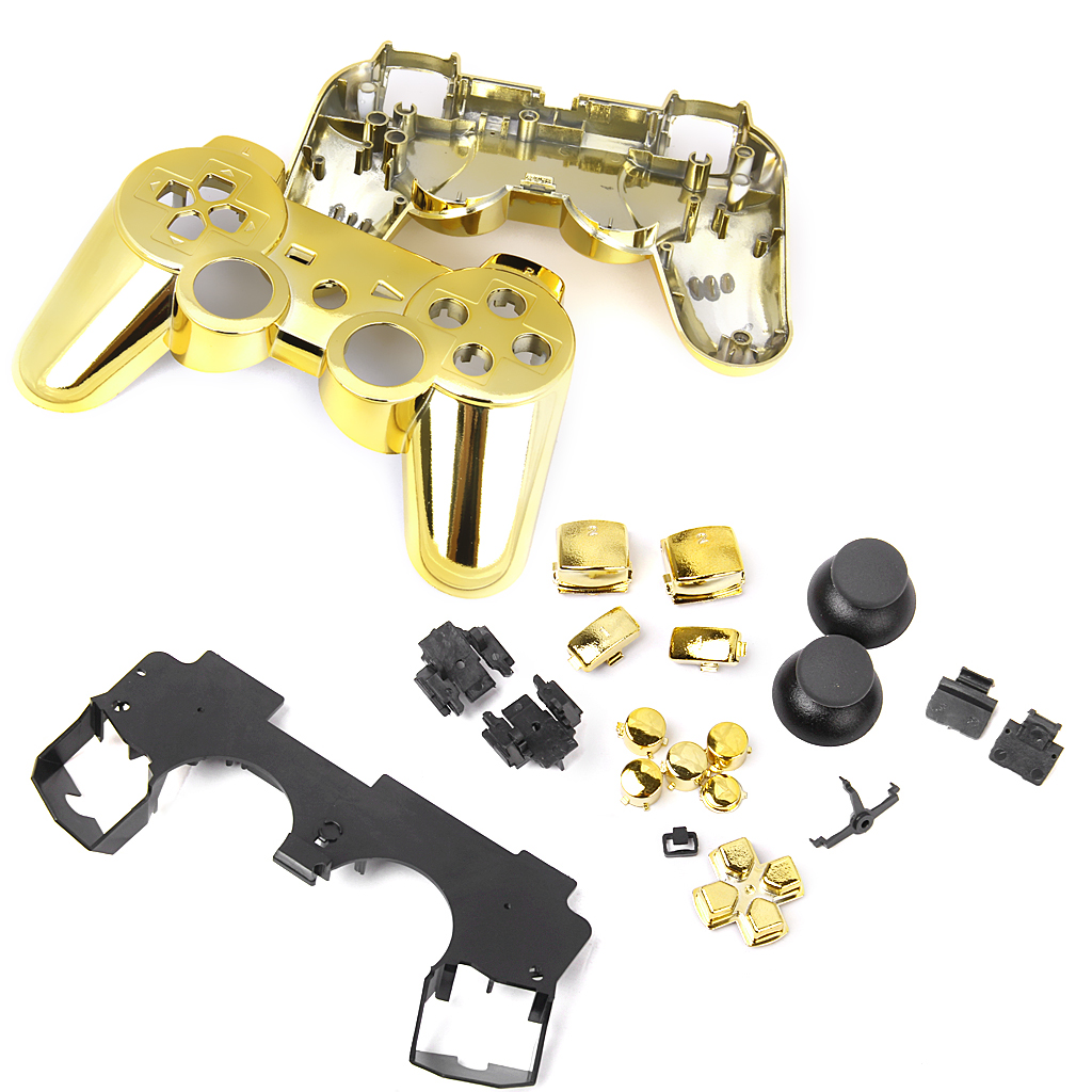 Metal Plated Full Housing Shell Case Button Kit for Sony PlayStation3 PS3 Wireless Controller - Golden(China)