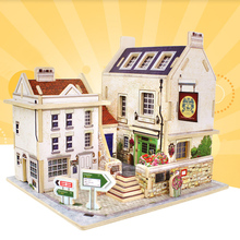3D Jigsaw Puzzle Kids Wooden Toys DIY luxurious House Lovely British Bar Design Children's Educational Wooden Chalets Toys(China)