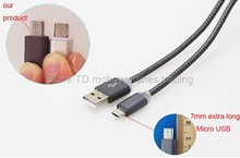 1m 7mm Long Micro USB Head Connector Charger Nylon Cable Charging Accessories for Doogee X10 Shoot 2/1 X6 Homtom ht7/pro/ht16