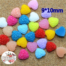 100pcs 9x10mm Mixed Color heart shiny flower resin flatback cabochon DIY jewelry/phone decoration No Hole