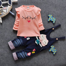 Infant Cotton Tracksuits Clothing Set Children Hello Kitty Denim Coveralls Jeans shirt Sweatshirts 2PCS Baby Girl Boy Kids Suit