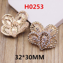 New Arrival 10PCS 32*30MM Floral Crystal Rhinestone Metal Button Stickers Fashion Cell Phone Case Decor Material DIY Patch Craft(China)