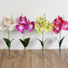 2Pcs Triple Head Phalaenopsis Artificial Butterfly Orchid Silk Flower Home Wedding Decoration