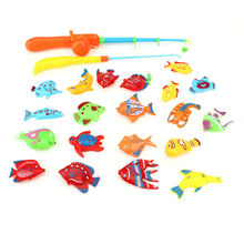 Baby Cute Fish Game Magnetic 2 Fishing Pole Rod 20pcs Fish Model Set Kid Educational Toy Fishing Toys