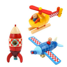 x001 Wooden Magnetic removable Assembly Helicopter Fighter Rocket baby learning plan education toys for younger kids hot(China)
