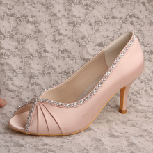 Wedopus MW627 High Heel Blush Pink Wedding Shoes Bridal Pump Open Toe Autumn Shoes(China)