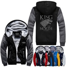 WISHOT King In The North Game of Thrones House of Stark Thickening Cotton-padded Jacket Winter Warm Flannel Hoodie Coats US Size(China)