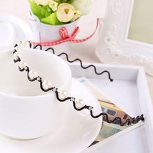 1PC New Fashion Women Headband Simple Diamond Pearl Metal Belt Wave Hoop Headwear Hairpin Girls Hair Bands Hair Accessories