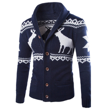 European Appear Christmas Deer Pattern Sweater For Mens Plus Size Single Breasted Christmas Sweaters Fpr Men High Quality S102