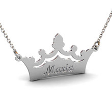 CHENGXUN Lettering Carved Custom Made Name Necklace Women Best Friend  Birthday Gift Choker Crown Shape Pendant Letter Necklace 9694e5a56f42