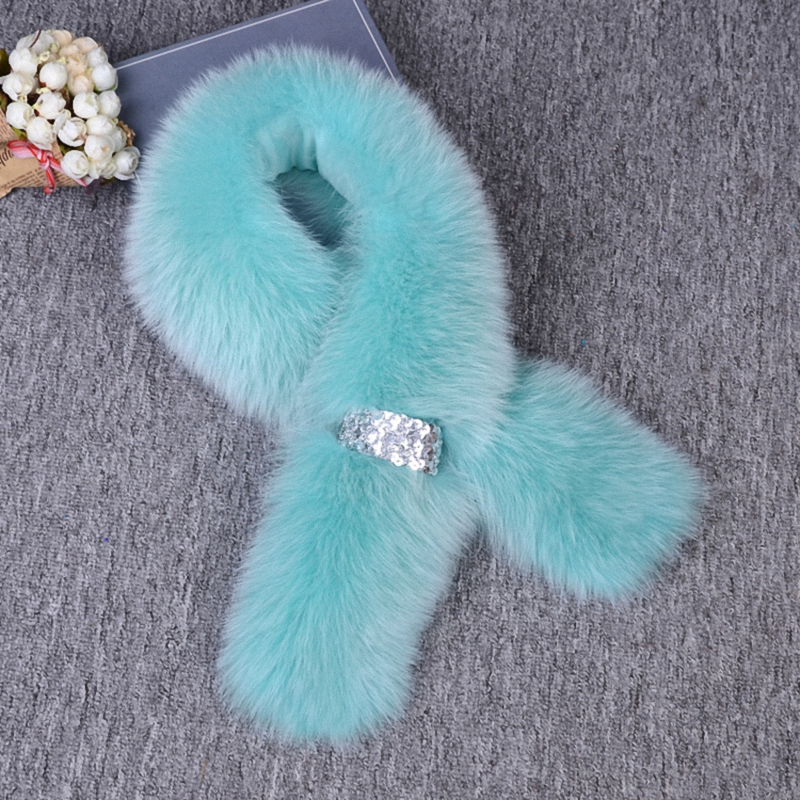 Real Fox Fur Women Winter Fashion Scarves Warm Scarf Fake Shirt Collar Lady Elegant Temperament Accessories Shawl S005-seablue