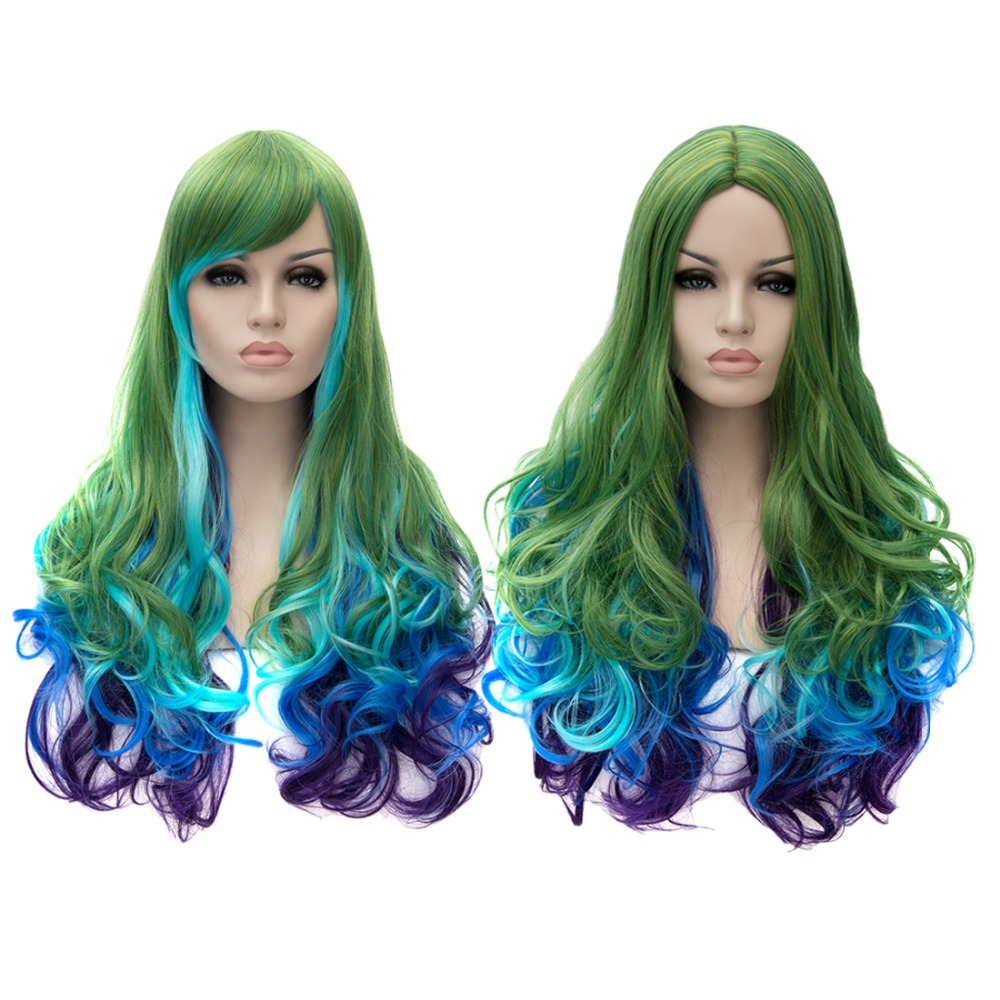 Fashion Harajuku Anime Game Cosplay Party Wigs Gradient Grass Green Gradual Change Synthetic Wig  Perruque<br><br>Aliexpress