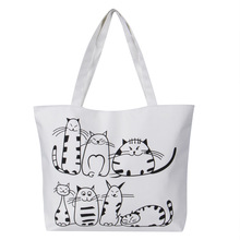 Women Canvas Handbag cartoon Cat Printed Shoulder bag Female Large Capacity Ladies Beach Bag Women Canvas Tote Shopping Handbags