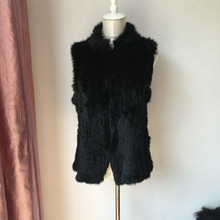 2017 black natural real women's KNITTED RABBIT fur vest wholesale female genuine fur waistcoat free shipping short style gilet