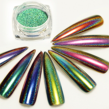 1Box Laser Peacock Chameleon Nail Glitter Powder Mirror Holo Chrome Pigment Holographic Nail Dust Manicure Decorations LALG01-12