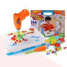 Children Drill Toy Screw Puzzle Building Educational Insights Design Assembled boys Jigsaw puzzls Improve Kids color awareness(China)