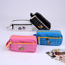Korea Stationery Portable Creative Funny Canvas Pencil Case Large Capacity Pen Bag Box Pouch Holder School Supplies