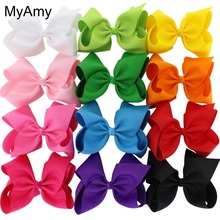 MyAmy 12pcs/lot large 8'' grosgrain ribbon boutique hair bows WITH alligator hair clips big bow girls hairbow for teens kids(China)