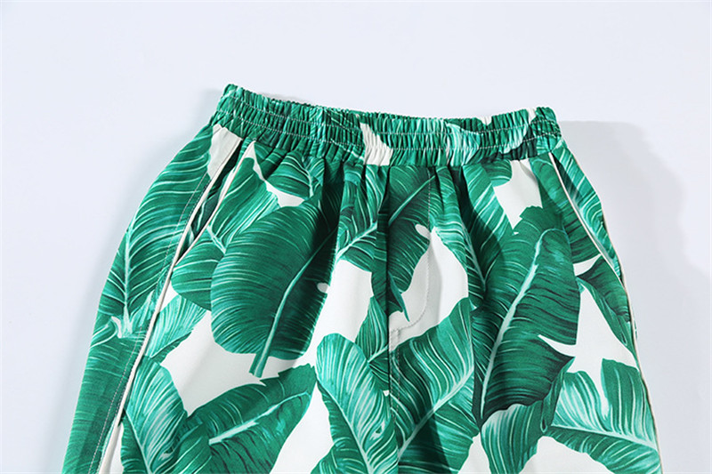 Brand Fashion Two Piece Set Women Runway Suit Fashion Green Leaf Print Dragonfly Beading Shirt + Elastic Waist Pants Sets 19