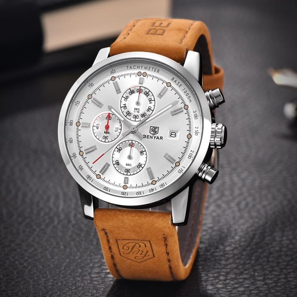 BENYAR New Fashion Chronograph Genuine Leather Sport Mens Watches Top Brand Luxury Military Quartz Watch Clock Relogio Masculino<br><br>Aliexpress