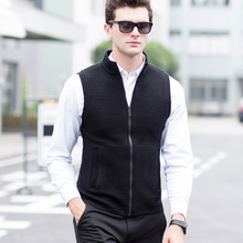 Classic Style Men's Sleeveless Knitted Sweater Vest Solid Color Striped Sweatercoats Turtleneck Formal Casual Vest(China)