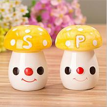 Free Shipping  20pcs=10sets  Fashion Yellow Mushroom Wedding Luxury Salt And Pepper Shakers Gifts