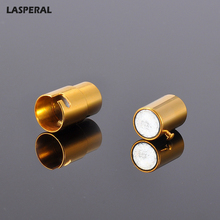 LASPERAL 2017 Gold Color Cylindrical Stainless Steel Clasps Smooth Locking Mechanism Magnetic Clasp For Pendant Jewelry Finding