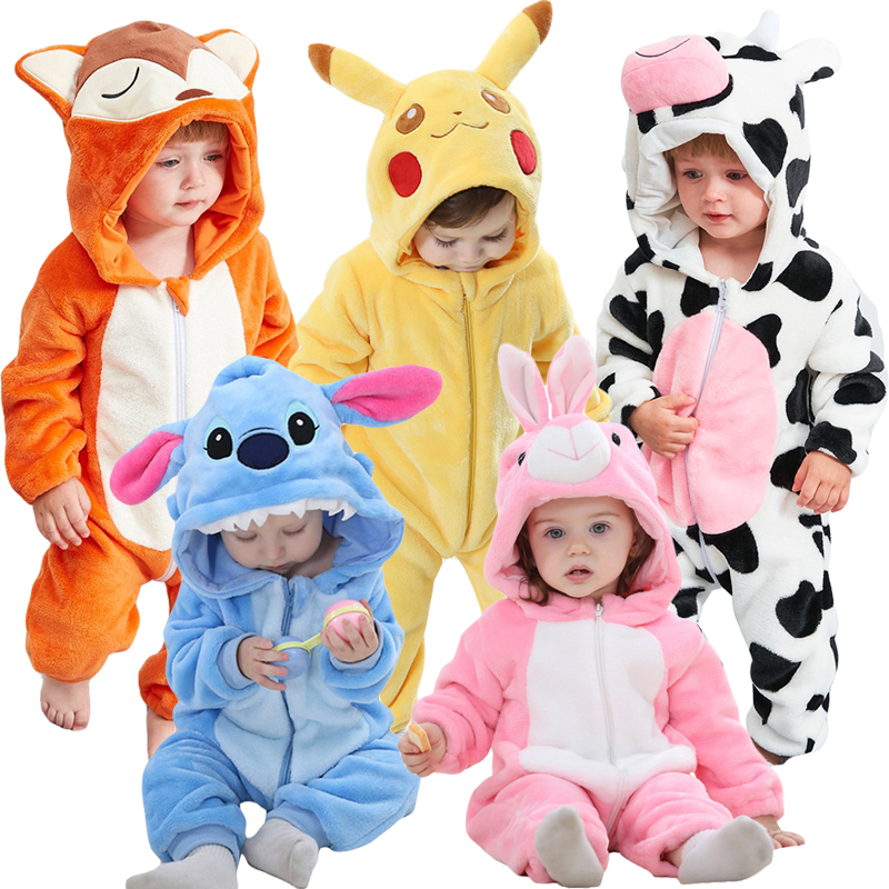 Baby Cartoon Romper Newborn Hooded Inflant Clothing Boy Girl Pajamas Animal Onesie Jumpsuit Pikachu Costume Flannel Baby Rompers title=