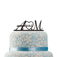 Monogram Wedding Cake Topper Custom Initials Cake Topper Personalized Bride and Groom Cake Topper with Date Wedding Cake Decor