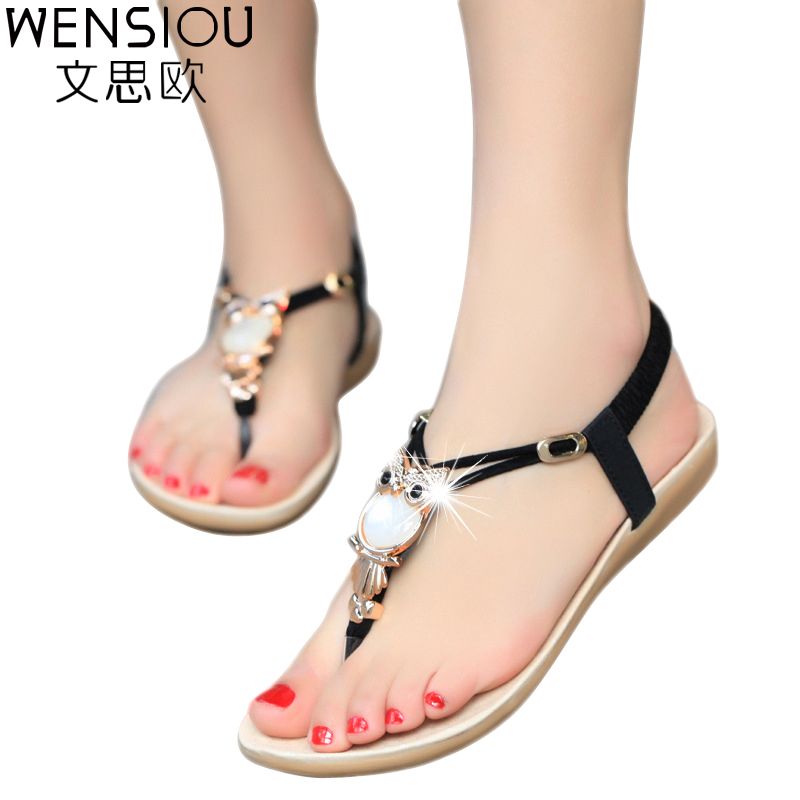 New Fashion 2017 Casual Women Sandals Comfort Summer shoes Classic Rhinestone Flat Sandslias Feminina BS14(China (Mainland))