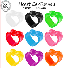 BOG-1 Pair Acrylic Heart Hollow Double Flare Ear Tunnels Gauges Plugs Earlets Ear Piercing Jewelry Ear Expander Taper Stretcher