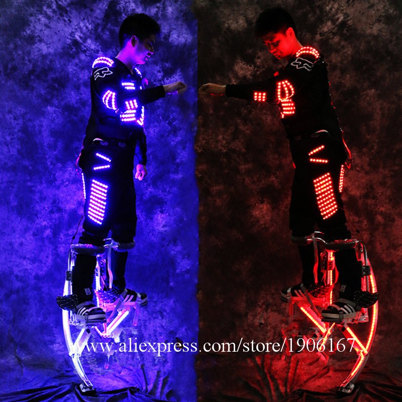 Newest Led Luminous Stilt Robot Performance Costume With LED Helmet Illuminated LED Clothing Growing Light Kryoman Robot Suit5