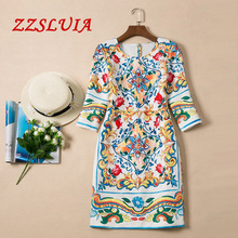 S-XXL Retro colorful ceramics print designer O neck half sleeve slim jacquard dress 2017 new nice fashion women's dress 694170
