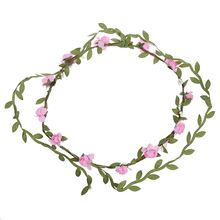 Lady Boho 12 Floral Flower Festival Wedding Garland Forehead Hair Head Band Pink