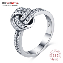 LZESHINE New Collection 925 Sterling Silver Love Knot Weave Finger Ring For Women Engagement Fine Jewelry PSRI0085-B