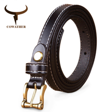 COWATHER Hot Sale good quality women belt cow genuine leather female waist strap top pin buckle fashion waistband original brand(China)