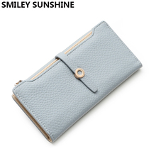Luxury Brand Women Wallets High Quality Zipper Leather Wallet Female Wristlet Fashion Ladies Slim Wallet and Purses Money Bag(China)