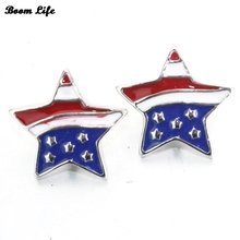 10pcs/lotThe new design five-pointed star drop oil metal snap button for ring jewelry18mm 060908(China)