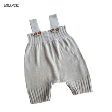 2017 New Spring Children Contracted Cotton Knitted Baby Bib Pants Korean Style Short Baby Boy Girl Overalls Yellow Blue Gray(China)