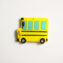 Hot sale!! Cartoon School Bus fridge magnets whiteboard sticker Vehicle Silicon Gel Refrigerator Magnets Educational Kids gift(China)