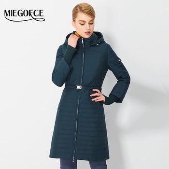 2017 miegofce primavera parkas para las mujeres con capucha capa del resorte de la alta calidad delgada chaqueta de algodón acolchado de moda femenina nueva llegada