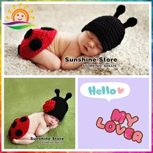 Cute Animal Red&Black baby winter hats Ladybug bone handmade Knit Crochet Newborn Infant toddler Costume photography props set