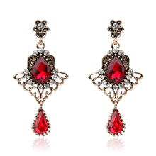 2017 Luxury Turkish Red Glass Earrings For Women Vintage Look Feather Wings Glass Crystal Rose Gold Earring