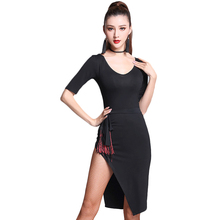 2017 Sexy Ladies Latin Dance Dress Women Black Stage Suits Fringe Cocktail Dress Salsa Perform Fitness Dancewear MD7128