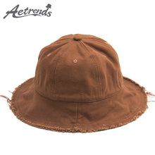 [AETRENDS] 2018 New Spring Summer Children Canvas Bucket Hats for Kids 3-7 Years Old Summer Cap Wide Brim Z-6314()